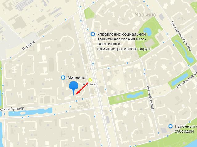 Марьино, центр социального обслуживания (соцзащиты)в районе Марьиног. Москвына Новочеркасском бульваре